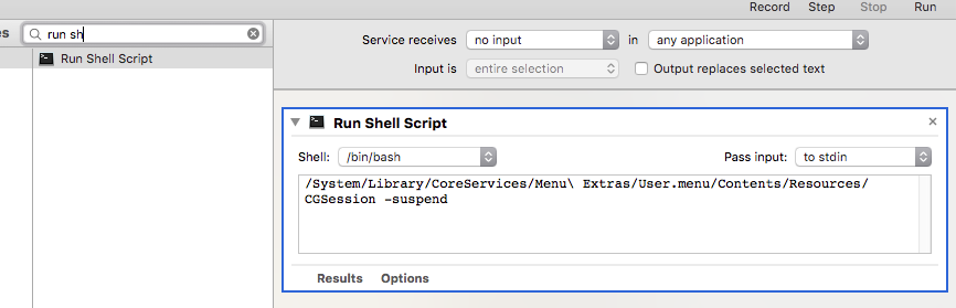 Automator Run Shell Script
